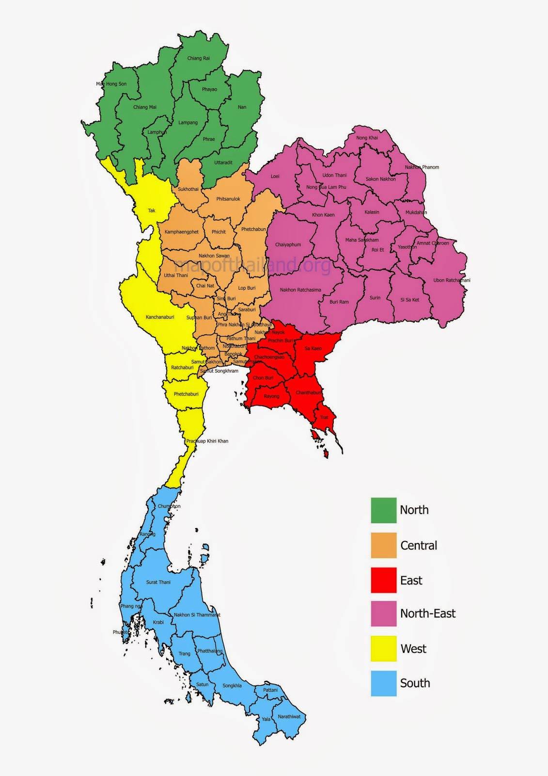 Güzergah Tayland. Bölgelere göre Tayland haritası.