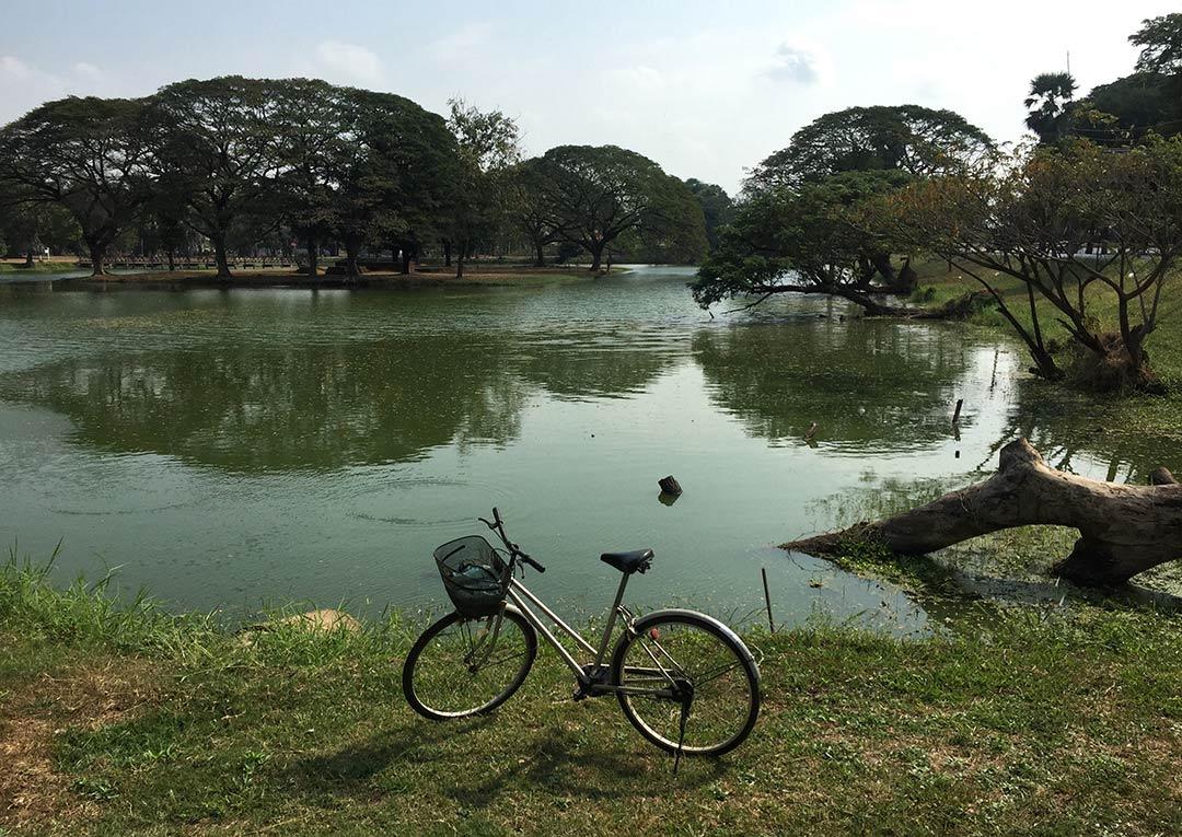 Bisikleti gölet çevresine park edip dinleniyorum. Sukhothai tayland